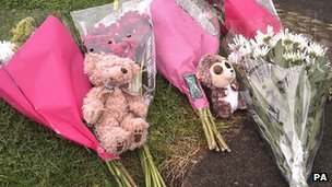 Flowers left at the scene in Tidworth