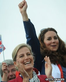 The Countess of Wessex and the Duchess of Cambridge at Eton Dorney