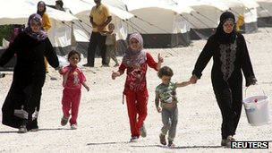 Syrians at the Za'atri refugee camp in Jordan on 30 August 2012