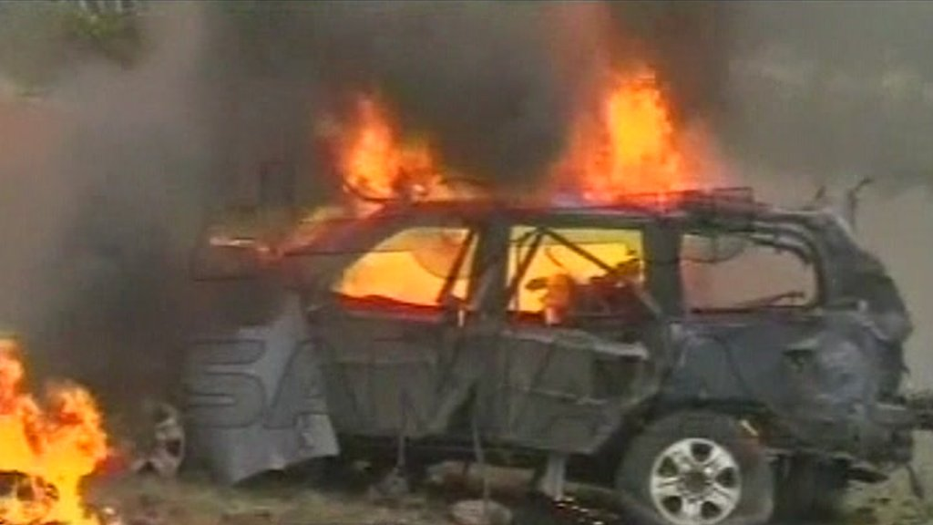 Burning car in Peshawar