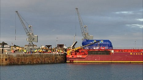 Barge Terra Marique offloading Guernsey Electricity generator