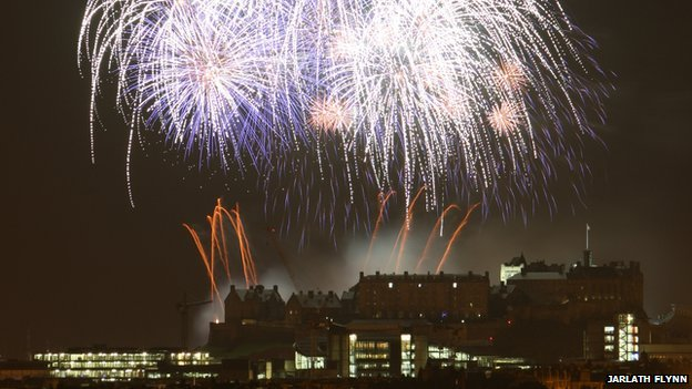 Jarlath Flynn from Edinburgh took these photos from the roof of his home in Kingsknowe while listening to the  fireworks concert on the radio