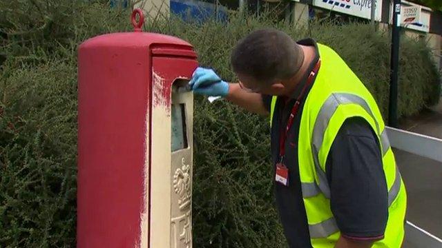Gold post box in Bridgend
