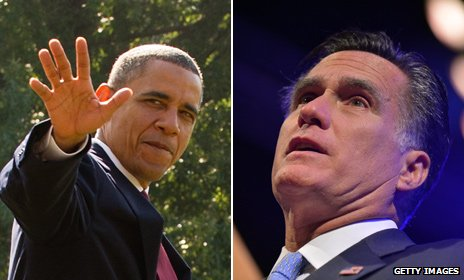 Barack Obama and Mitt Romney, composite picture 