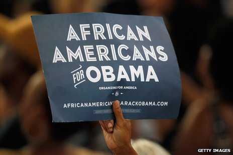 Sign reading &quot;African Americans for Obama&quot;. 
