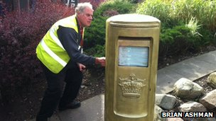 Gold post box in Aviemore