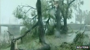 Trees downed in Hamheung, North Korea