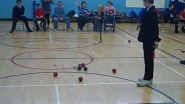 John Grant School pupils playing boccia
