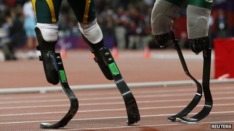 """The blades of Brazil's Alan Oliveira (right) and South Africa's Oscar Pistorius are seen after the Men""""s 200m T44 classification at the Olympic Stadium during the London 2012 Paralympic Games"""