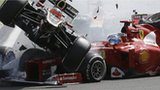 Romain Grosjean narrowly avoids Fernando Alonso