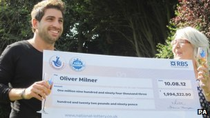 Oliver Milner and Dianne Walker with lottery cheque