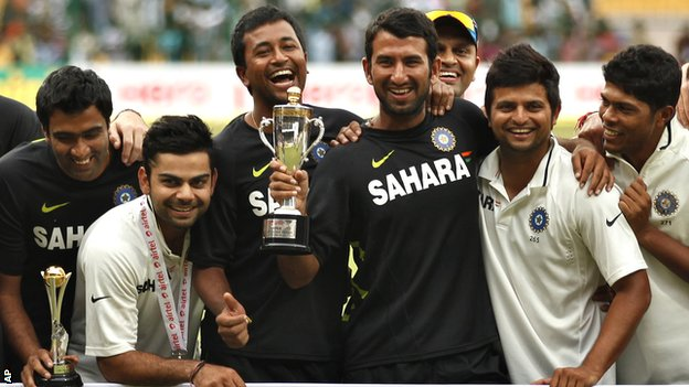 India's players with the Test series trophy