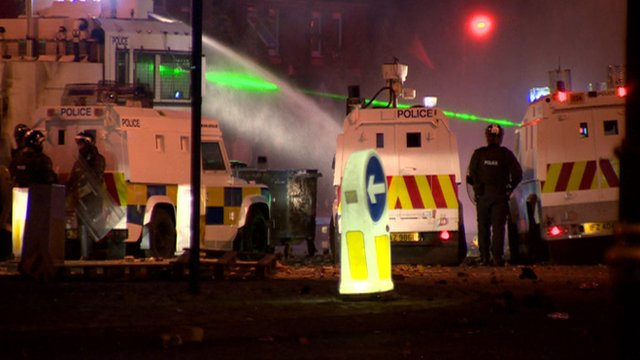 PSNI at scene of riot