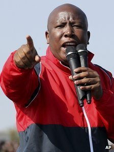 Former youth leader of the African National Congress (ANC) Julius Malema addresses mine workers at the Lonmin mine near Rustenburg, South Africa, Saturday, Aug. 18, 2012.
