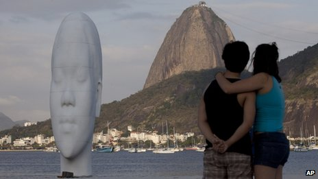 View of a sculpture by Spanish artist Jaume Plensa on Botafogo beach