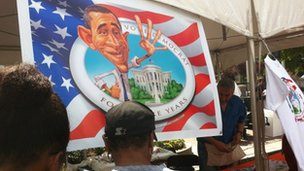 A poster of Barack Obama at the Carolina fest event, ahead of the National Democratic Convention