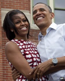 Michelle and Barack Obama in Iowa, August 2012