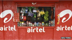 Grocery shop, painted with Bharti Airtel advertising