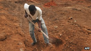 Man digging in road