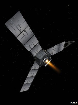 Artist&#039;s impression of Juno firing its Leros engine