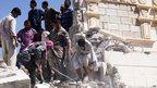 Men clearing rubble