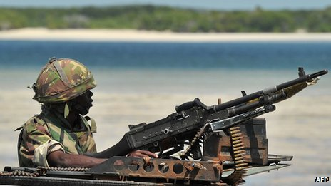 A Kenyan soldier keeps lookout on the coast in southern Somalia, December 2011