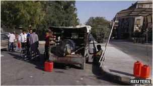 Truck selling fuel in Aleppo, Syria