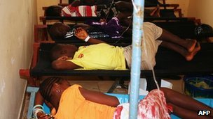Children suffering from cholera at a treatment centre in a Guinea hospital