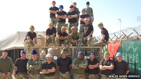 Soldiers in Afghanistan wearing Tina Selby's hats
