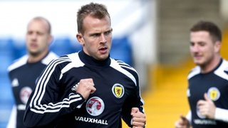 Jordan Rhodes trains with Scotland at Greenock Morton's Cappielow Park