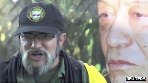 Farc leader Timochenko in a video released on 3 September 2012