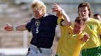 Colin Hendry playing for Scotland against Lithuania
