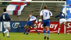 John Petersen scores for Faroe Islands against Scotland