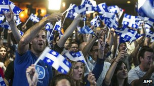 Parti Quebecois supporters in Montreal