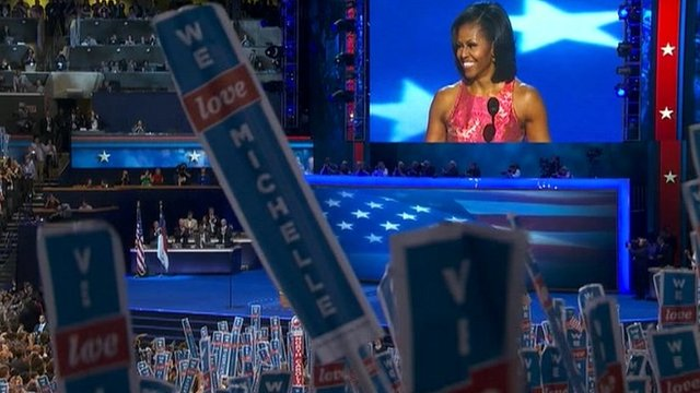 Michelle Obama on stage at the Democratic convention