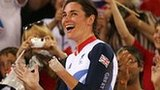 Sarah Storey celebrates with GB fans