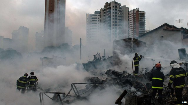 firefighters extinguish favela fire in Sao Paolo, Brazil