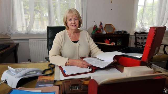 Ex-Welsh secretary Cheryl Gillan at her desk in the Welsh Office, Gwydr House, Whitehall, London