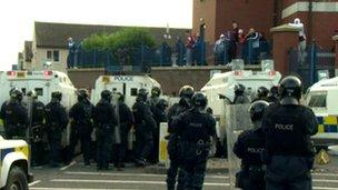 Police had been keeping loyalist protesters back from a republican parade