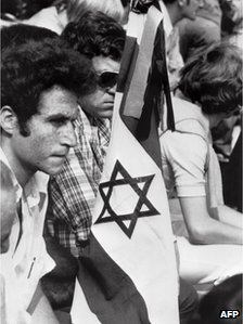 Israeli athletes mourn their dead at a memorial service in the Munich Olympic Stadium, 6 September 1972