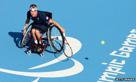 Andy Lapthorne of Great Britain playing wheelchair tennis