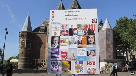 Campaign posters for political parties displayed in the centre of Amsterdam