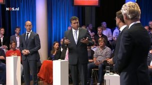 Dutch party leaders take part in a TV debate (Image: NOS.nl)