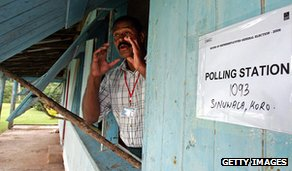 Official summons voters to village polling station, 2006