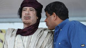Abdullah al-Senussi with Col Gaddafi in 2009