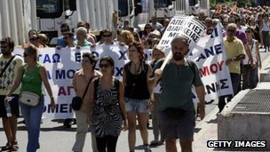 Demonstration against austerity measures in Athens on 29 August