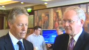 Northern Ireland's leaders, Peter Robinson and Martin McGuinness, have been addressing the recent riots in Belfast