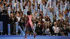 First lady Michelle Obama waves after addressing the Democratic National Convention