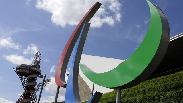 The Paralympic logo at the London Olympic Park