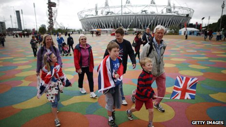 Young spectators on the Olympic Park during the Paralympics